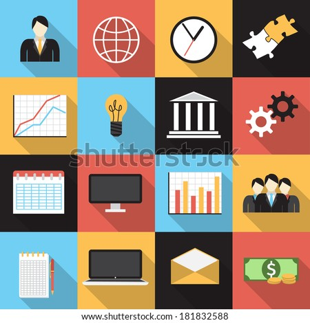 Business flat generic icons set of people teamwork charts graphs and finance isolated vector illustration - stock vector