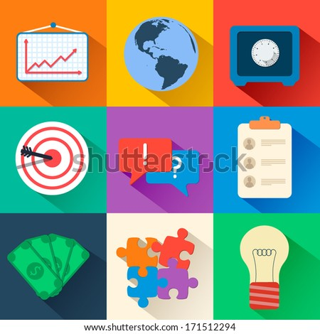 business flat icon set. Vector illustration - stock vector