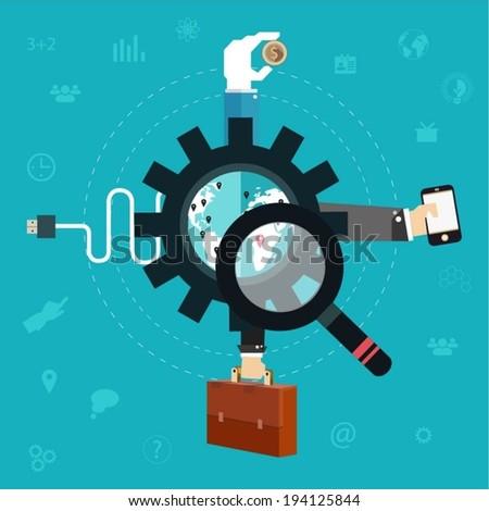 Business flat icons. Teamwork symbols. - stock vector