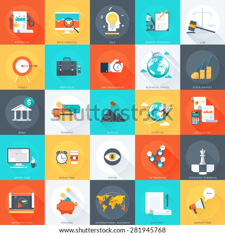 Business , flat style, colorful, vector icon set for info graphics, websites, mobile and print media. - stock vector