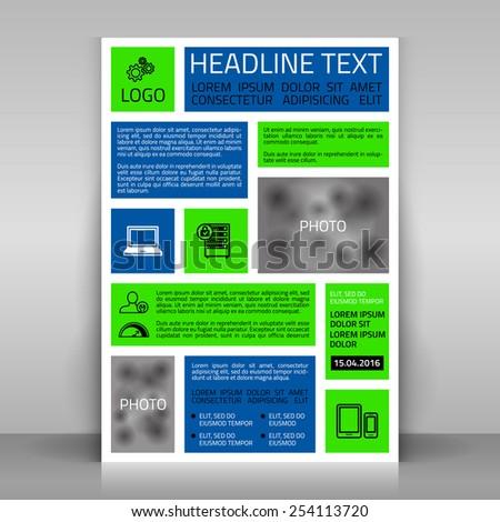 Business flyer design, broshure cover template. Vector mock up. - stock vector