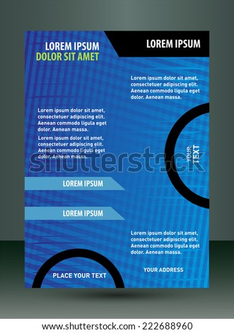 Business flyer template, cover design with blue  - stock vector