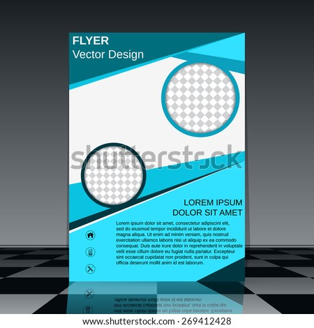 Business flyer vector template. Brochure cover, poster, booklet abstract geometric design. - stock vector