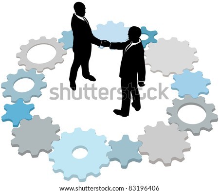 Business form partnership or do a deal inside ring of technology gears - stock vector