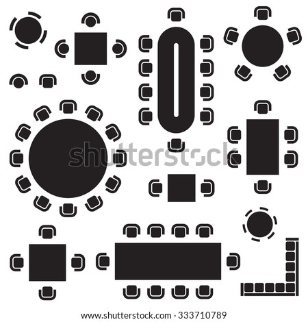 Business Furniture Symbols Used Architecture Plans Stock