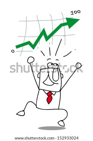 business get up. Joe is very happy. he reach his goal ! - stock vector
