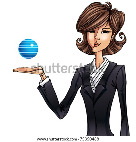 Business girl illustration. With copyspace for company name. - stock vector