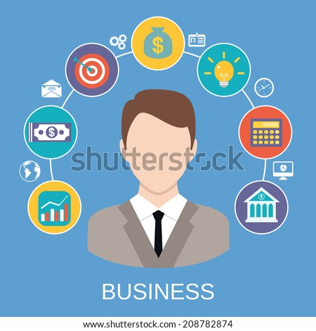 Business global market profit gain concept with broker money growth diagram icons vector illustration - stock vector