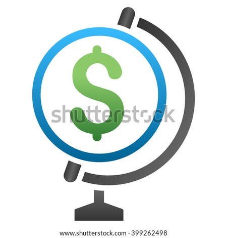 Business Globe vector toolbar icon for software design. Style is a gradient icon symbol on a white background. - stock vector