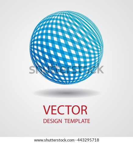 Business Globe with brush strokes. Business icon Sphere with lines.