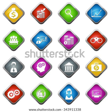 Business glossy web icon set - stock vector