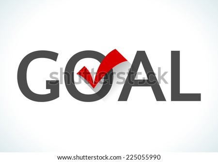 Business goal concept. Goal icon with red check mark on white background. Design ideas achieve execute goals and objectives. - stock vector