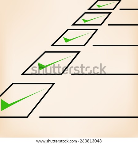 Business goals checklist with green markers, lines and unchecked checkbox. Vector icon. Idea - Business planning, goals, management and company strategy concept - stock vector