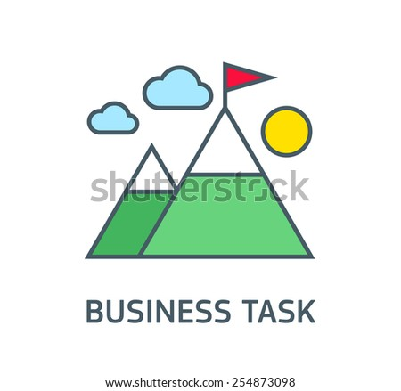 Business goals, motivating company flat illustration,achievements, climbing high mountain, flag on the mountain peak, winning strategy. - stock vector
