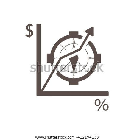 Business graph and chart icon, vector illustration. Flat design style