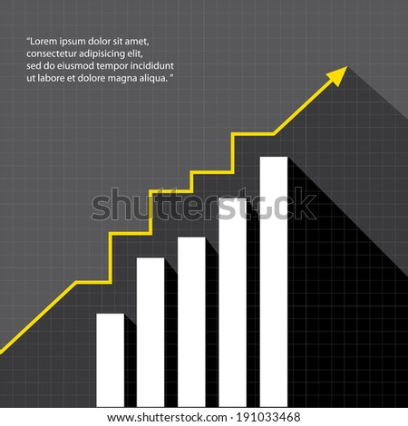 Business graph and chart on black background. vector illustration - stock vector