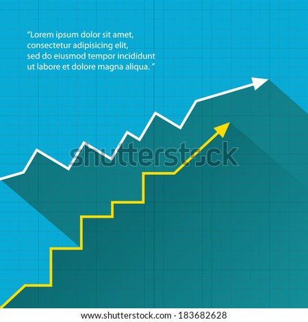 Business graph and chart on blue background. vector illustration