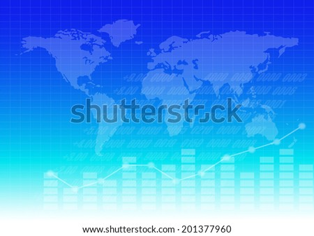 Business graph and chart with world map background - stock vector