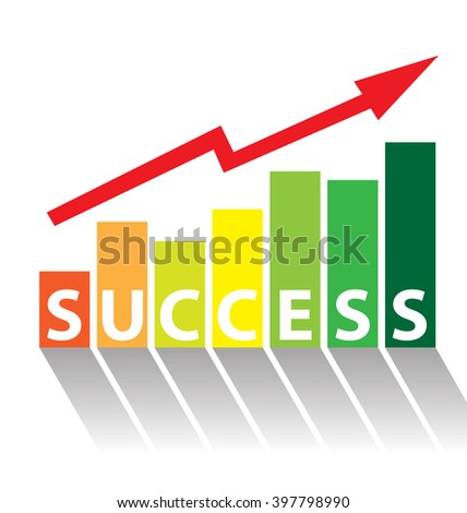 Business graph chart with red rising arrow isolated over white background - stock vector