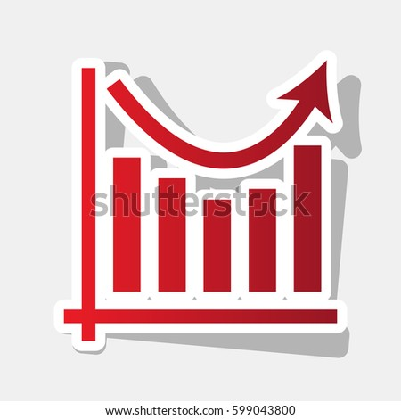Business graph charts. Vector. New year reddish icon with outside stroke and gray shadow on light gray background.