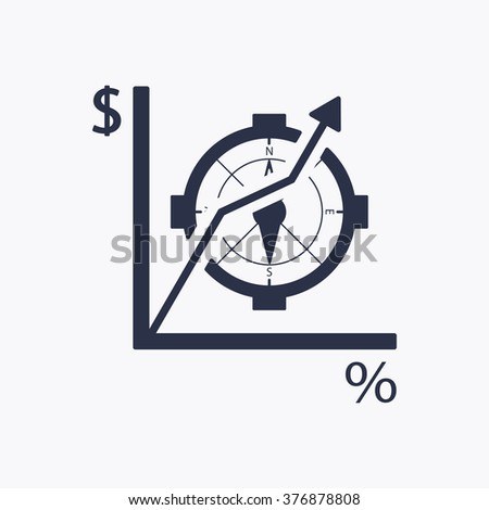 Business graph  icon,  isolated. Flat  design.