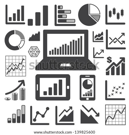 Business Graph icon set.Illustration eps10 - stock vector