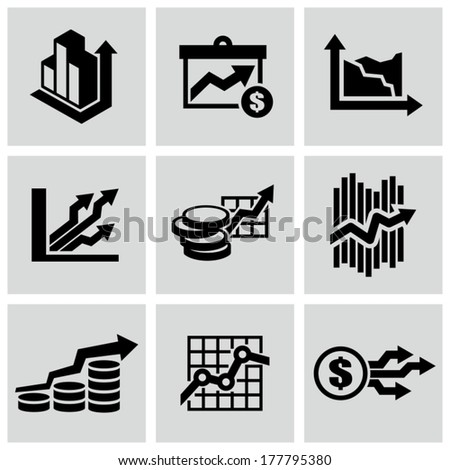 Business graph icons - stock vector