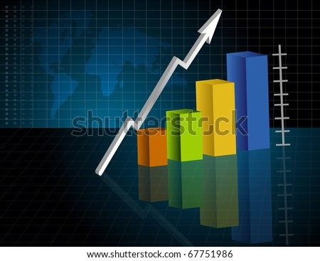 Business Graph in dark background with map. Vector file available.
