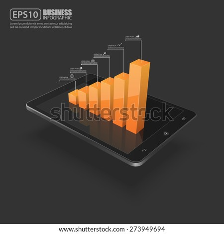 Business graph on smartphone,vector  - stock vector