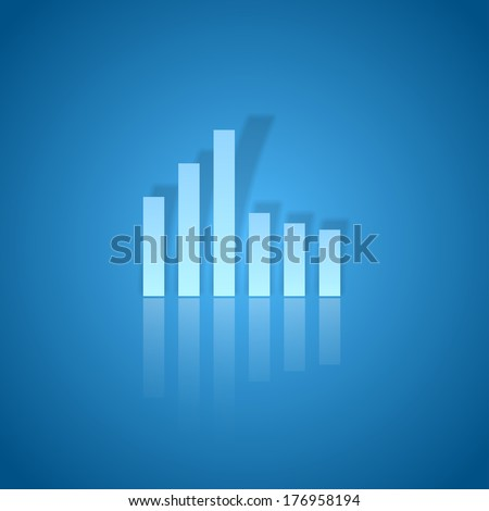 Business graph on the blue background. Vector modern design. - stock vector