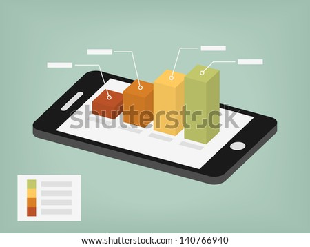 business graph on the screen - stock vector