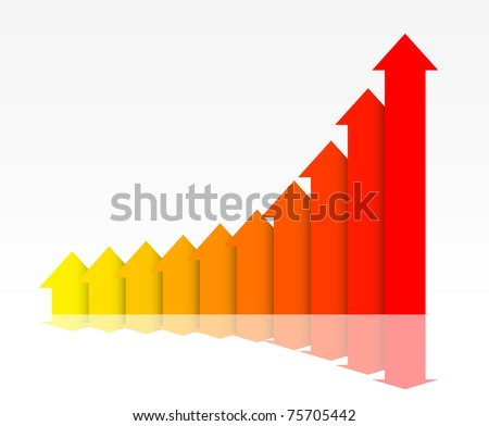 Business graph, tending to grow. Easy to edit and change. - stock vector