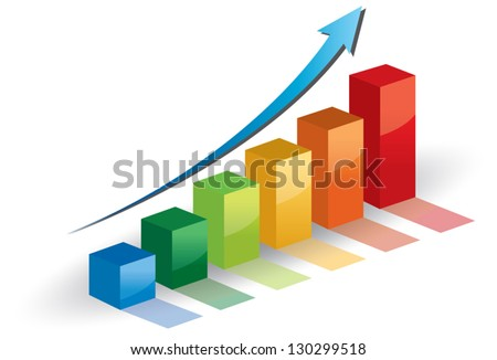 Business graph .vector growth progress blue arrow. - stock vector