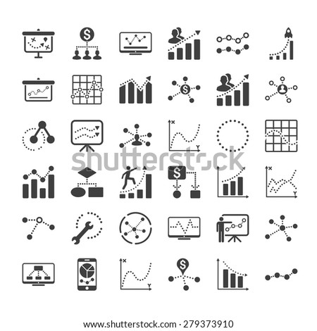 Business graphics icon set isolated on white background - stock vector