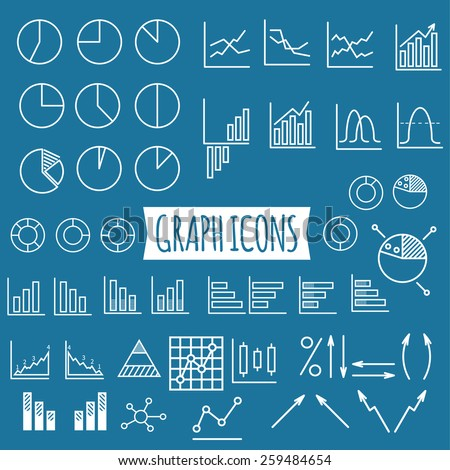 Business graphs and charts. Set of thin line graph icons, stats symbols, arrows, pies. Outline design. Can be used as elements in infographics, logo design, badge, label, projects. Vector illustration - stock vector