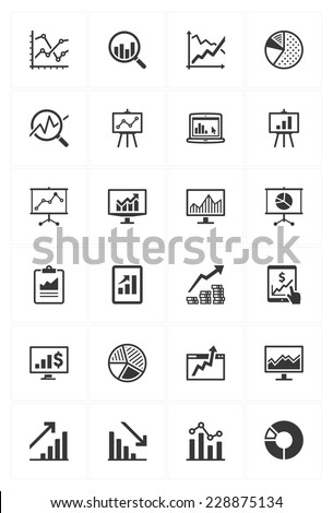 Business Graphs & Charts Icons - stock vector