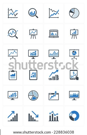 Business Graphs & Charts Icons - Blue Series  - stock vector