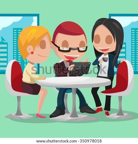Business Group Cartoon Character Meeting Vector - stock vector