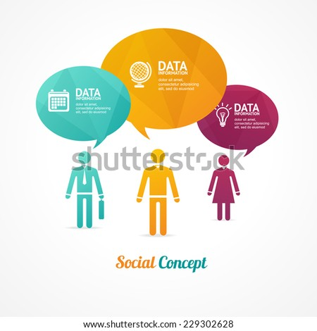 Business group of people with speech bubbles like option banner. Infographics design elements - stock vector