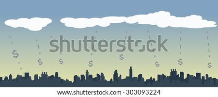 Business Growing concept, Internet Marketing, Money Rain, City Background, Vector, Illustration - stock vector