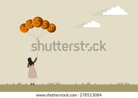 Business growing money concept. Woman holding Dollar money balloons. Vector illustration - stock vector