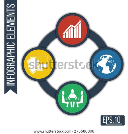 Business. Growth abstract background with connected circles and integrated icons for development, security, globality, solutions. Vector infographic illustration - stock vector