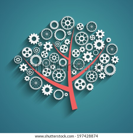 Business growth concept, creative tree with gears, vector eps10 - stock vector