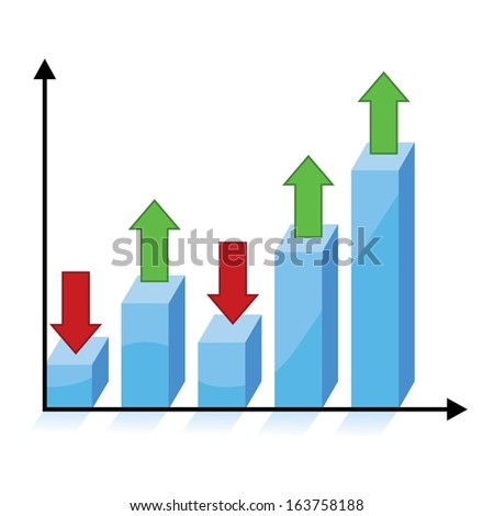 business growth concept, 3d chart graph with red and green arrows  - stock vector