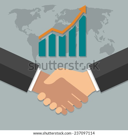 Business growth concept. Handshake with graph stock and world map. Flat design - stock vector
