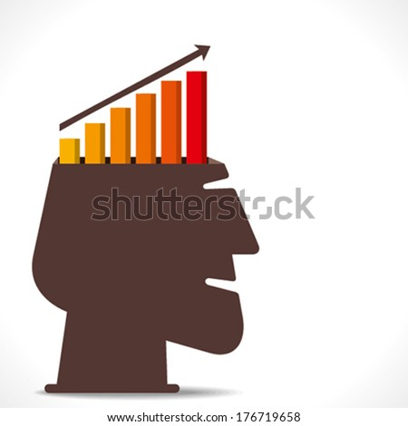 business growth graph  in human head concept vector - stock vector