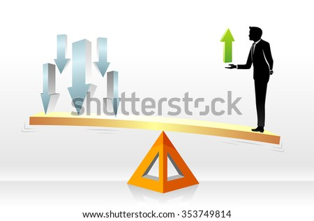 Business Growth Scale-Successful businessman holding valuable growth