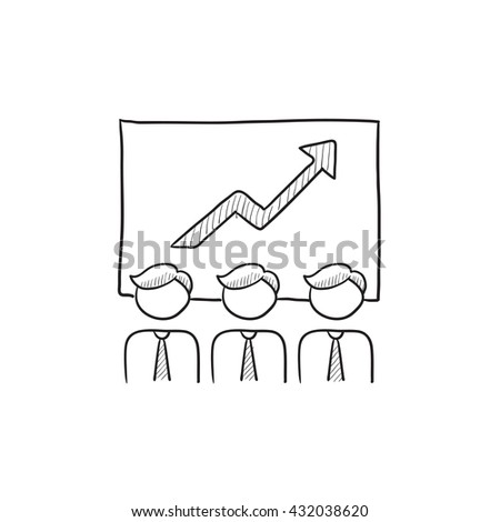 Business growth vector sketch icon isolated on background. Hand drawn Business growth icon. Business growth sketch icon for infographic, website or app. - stock vector