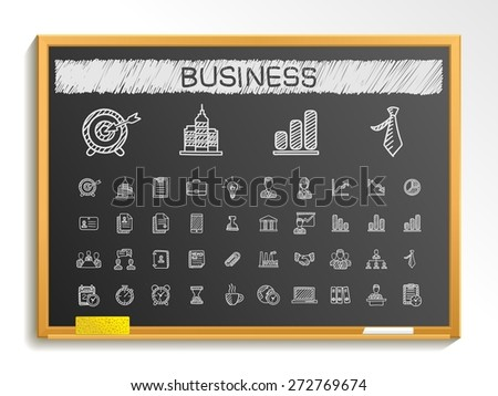 Business hand drawing line icons. Vector doodle pictogram set: chalk sketch sign illustration on blackboard with hatch symbol: finance, money, presentation, strategy, marketing, analytics, infographic - stock vector