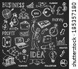 Business hand drawn doodles in white outline on a black background in a dense scattered pattern in square format with pictures and text  vector illustration - stock